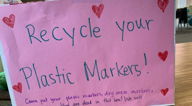 Leaders UNITE community project: recycling markers for Crayola ColorCycle!